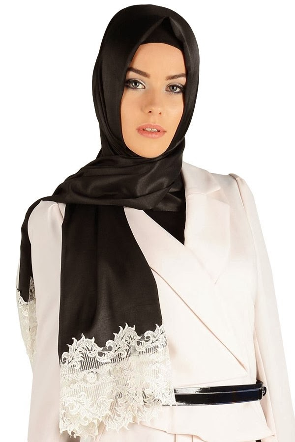 Arabic Lace Scarves | Viscose Scarf with Lace | Fashion ...