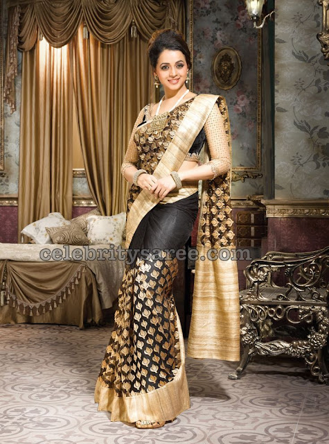 Bhavana in Black Silk Saree