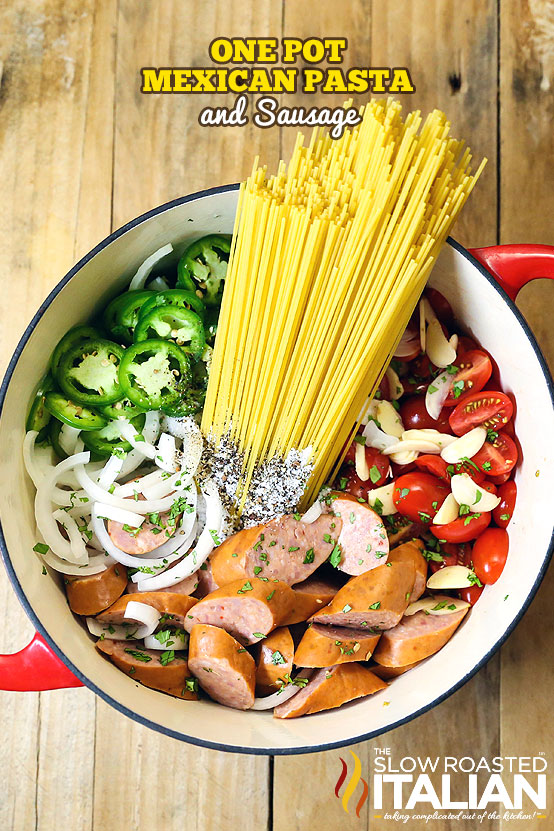 A spectacularly flavorful Mexican flavored sauce is cooked right into the linguine pasta in this amazing One Pot Pasta recipe, ready in 20 Minutes!  Your favorite salsa ingredients come together to with pasta and sausage to create a knock your socks of meal. Toss it all in a pot and let it go.  It's so easy it just about cooks itself.  Now that's my kind of meal.