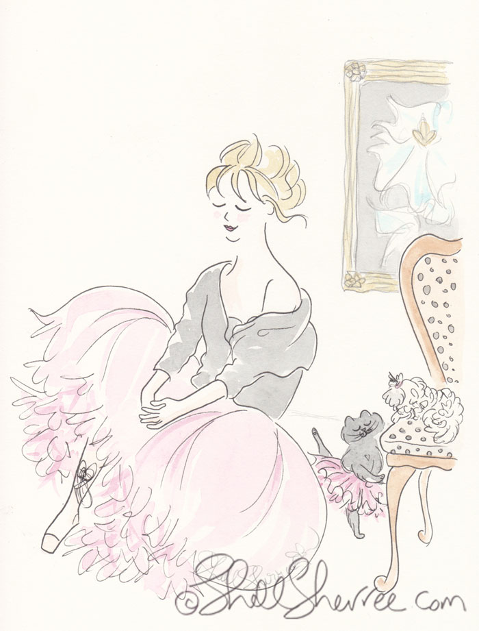 Fashion & Fluffballs illustration : Pink Tutus for Two © Shell-Sherree