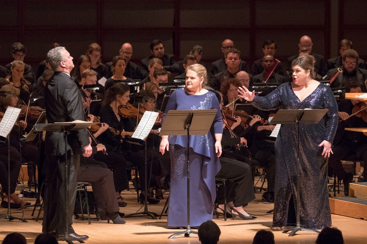 IN PERFORMANCE: (from left to right) tenor CHAD SHELTON as Pollione, mezzo-soprano ELIZABETH DESHONG as Adalgisa, and soprano LEAH CROCETTO as Norma in North Carolina Opera's concert performance of Vincenzo Bellini's NORMA, 21 October 2018 [Photo by Michael Zirkle, © by North Carolina Opera]