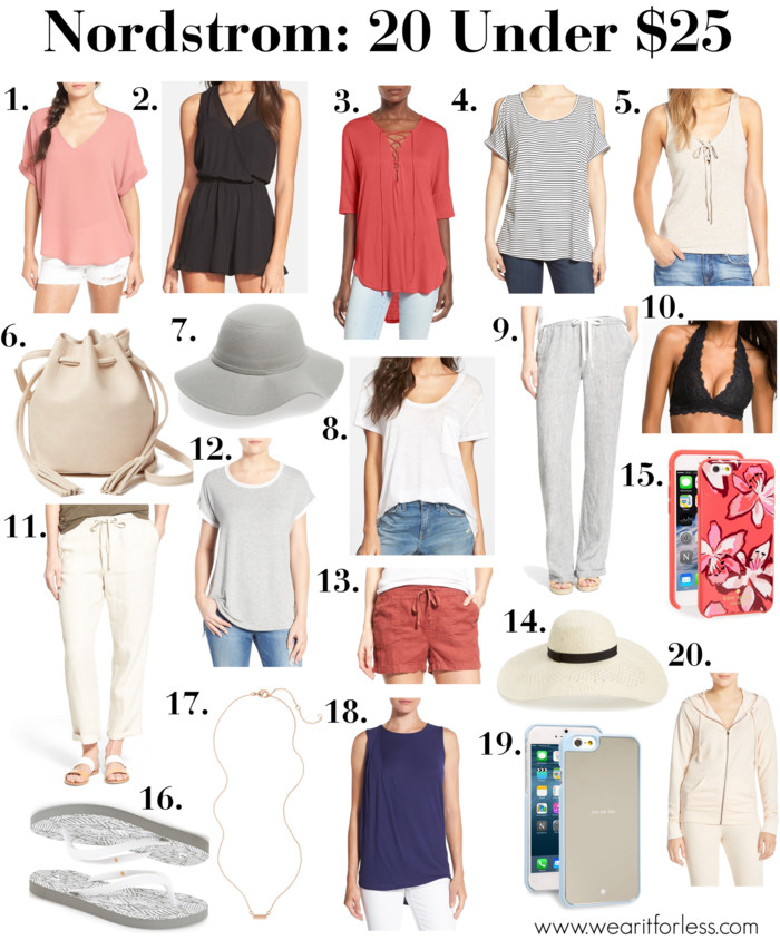 1. Lush Cuff Sleeve Woven Tee | 2. ASTR Sleeveless Romper | 3. Lush Lace-Up Tee | 4. Bobeau Cold Shoulder Scoop Neck Tee | 5. BP. Lace-Up Ribbed Tank | 6. Street Level Mini Faux Leather Tassel Bucket Bag | 7. Leith Floppy Felt Hat | 8. Treasure&Bond One Pocket Burnout Tee | 9. Caslon ® Drawstring Linen Pants | 10. Free People Lace Halter Bralette | 11. Caslon ® Linen Tie Front Crop Pants | 12. Bobeau Mesh Trim Short Sleeve Tee | 13. Caslon ® Drawstring Linen Shorts | 14. BP. Floppy Straw Hat | 15. kate spade new york 'tiger lily' iPhone 6 & 6s case | 16. BP. 'Switch' Flip Flop | 17. BP. Micro Bar Charm Necklace | 18. Bobeau Drape Front High/Low Sleeveless Top | 19. kate spade new york 'you are here' iPhone 6 & 6s case | 20. Make + Model 'Every Wear' Hooded Zip Sweatshirt