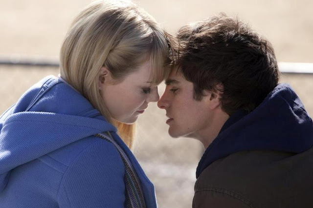 Andrew Garfield and Emma Stone in The Amazing Spider-Man 2012 Movie Kiss Scene