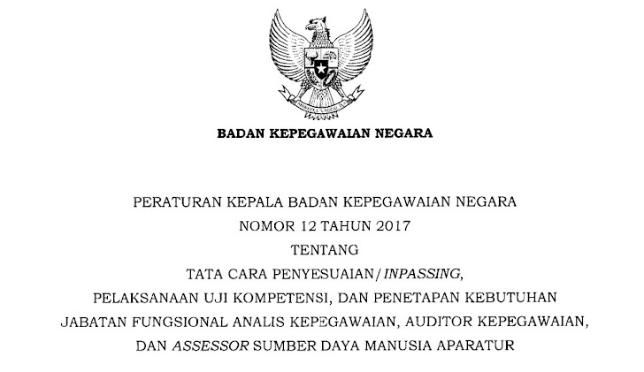 Perka BKN Nomor 12 Tahun 2017 Tentang Tata Cara Penyesuaian Inpassing dan Pengangkatan Jabatan Fungsional