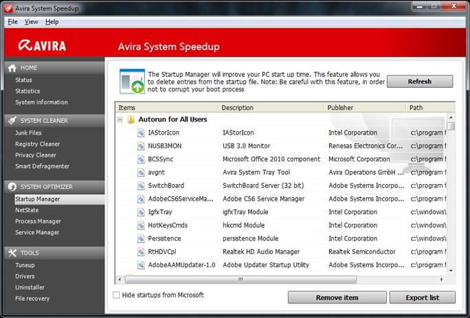 برنامج Avira System Speedup لتسريع الجهاز وتنظيف الويندوز