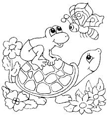Wonderfull Baby Turtle And Frog Coloring Pages