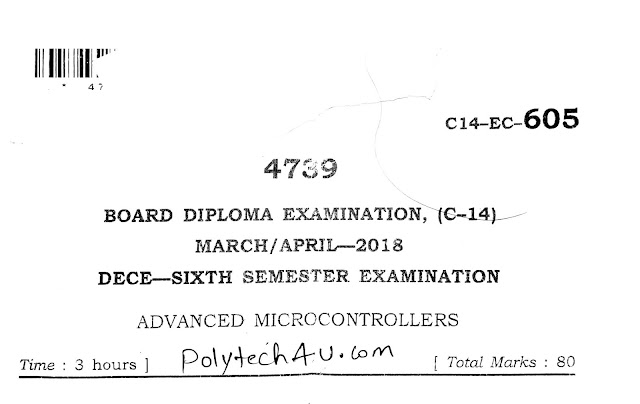 SBTET AP ADVANCED MICROCONTROLLERS OLD PAPER C-14 2018