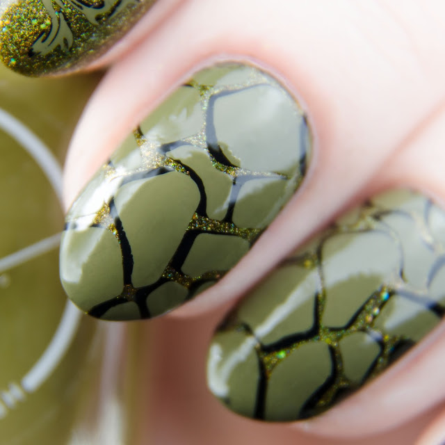 """Painted Polish """"Stamped in Moss"""" stamping swatch"""