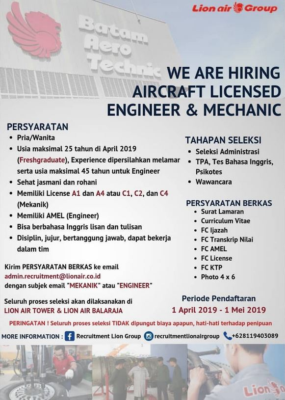 Lowongan Kerja Lion Air Group Bulan April 2019 (UPDATED)