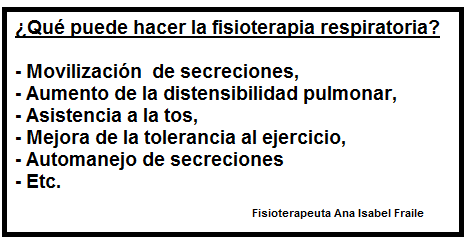 ¿Qué puede hacer la fisioterapia respiratoria? Fuente: Fisioterapeuta Ana Isabel Fraile