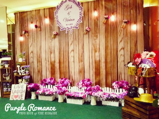 wedding backdrop, photo booth backdrop, custom design, malaysia, ,kuala lumpur, selangor, melaka, seremban, nilai, bentong, pahang, wooden crates, purple flowers, lavendar, elegant, decor