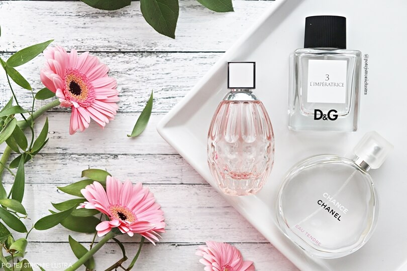 perfumy na wiosnę i lato chanel chance eau tendre, d&g l'imperatrice, jimmy choo l'eau