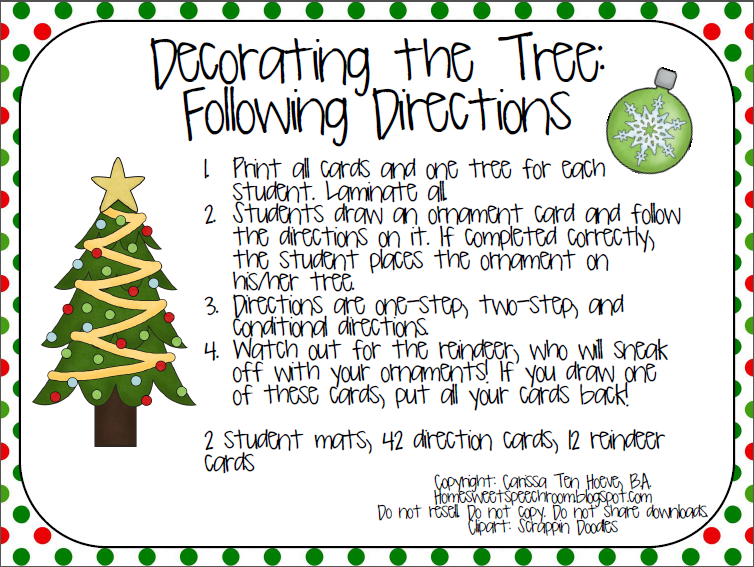decorating the tree following directions freebie. Black Bedroom Furniture Sets. Home Design Ideas