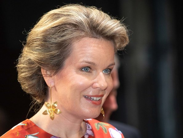 Queen Mathilde wore Erdem Venice Silk Satin Gown and Delphine Nardin Gold leaf earrings at fundraising gala in Antwerp
