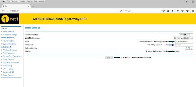 setting router d35 ice.net net1 ceria