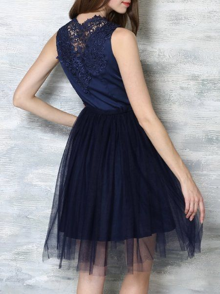 Lace Patchwork Chic Band Collar Cocktail-Dress