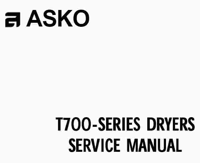 asko t700 series dryer service manual