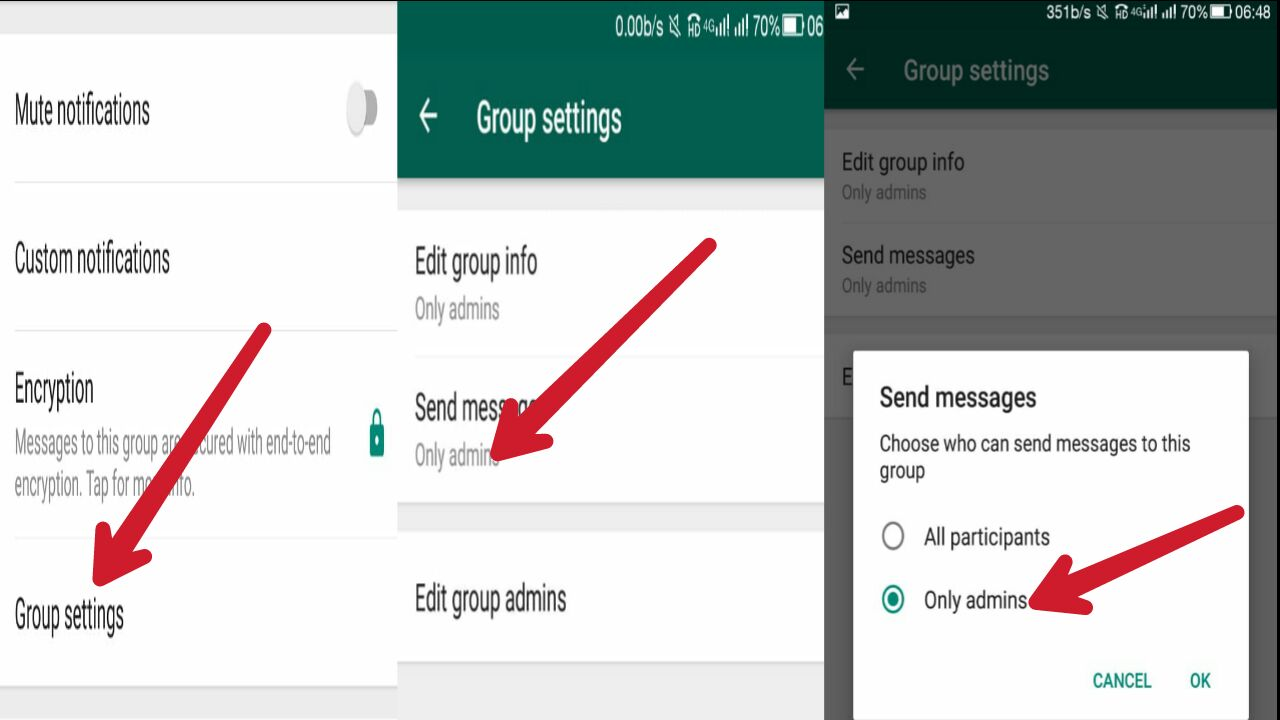 Whatsapp group admin setting panel