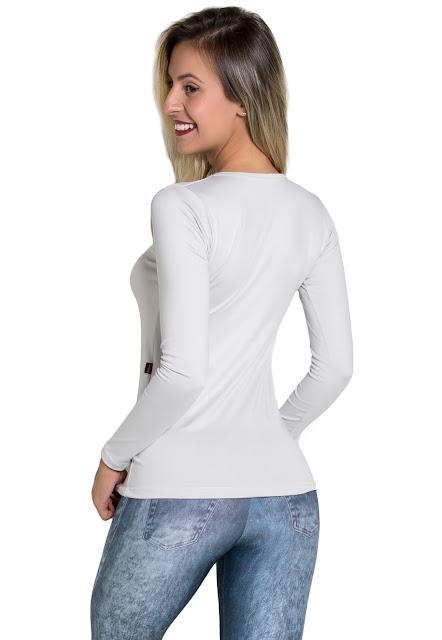 blusa manga longa confeccionada em suplex é perfeita para diversas ocasiões