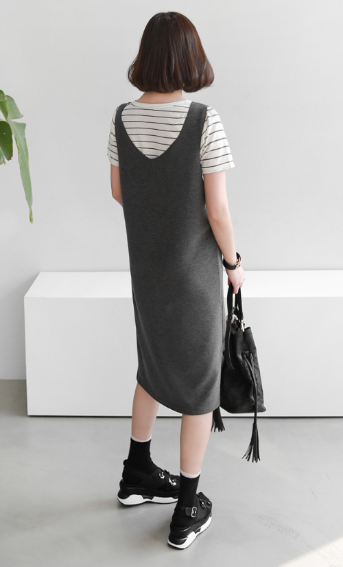 Faux Layered Pinafore Midi Dress