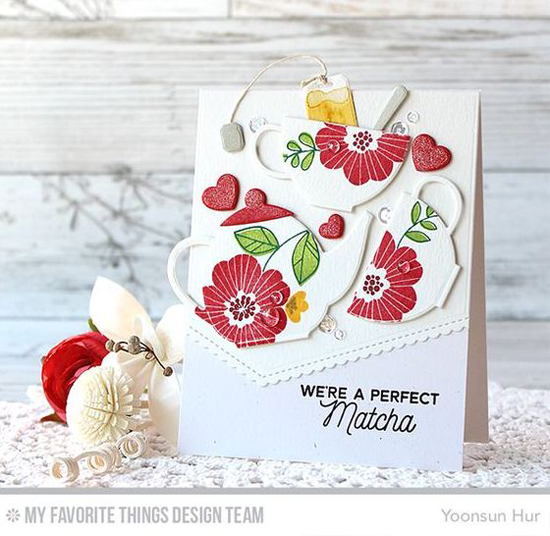 Handmade card from Yoonsun Hur featuring Bold Blooms stamp set, Laina Lamb Design Cup of Tea stamp set and Tea Party Die-namics, Stitched Scallop Basic Edges Die-namics #mftstamps