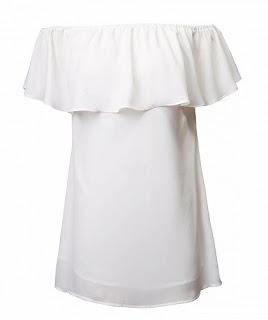 biała bluzka l z falbaną l top l odkryte ramiona