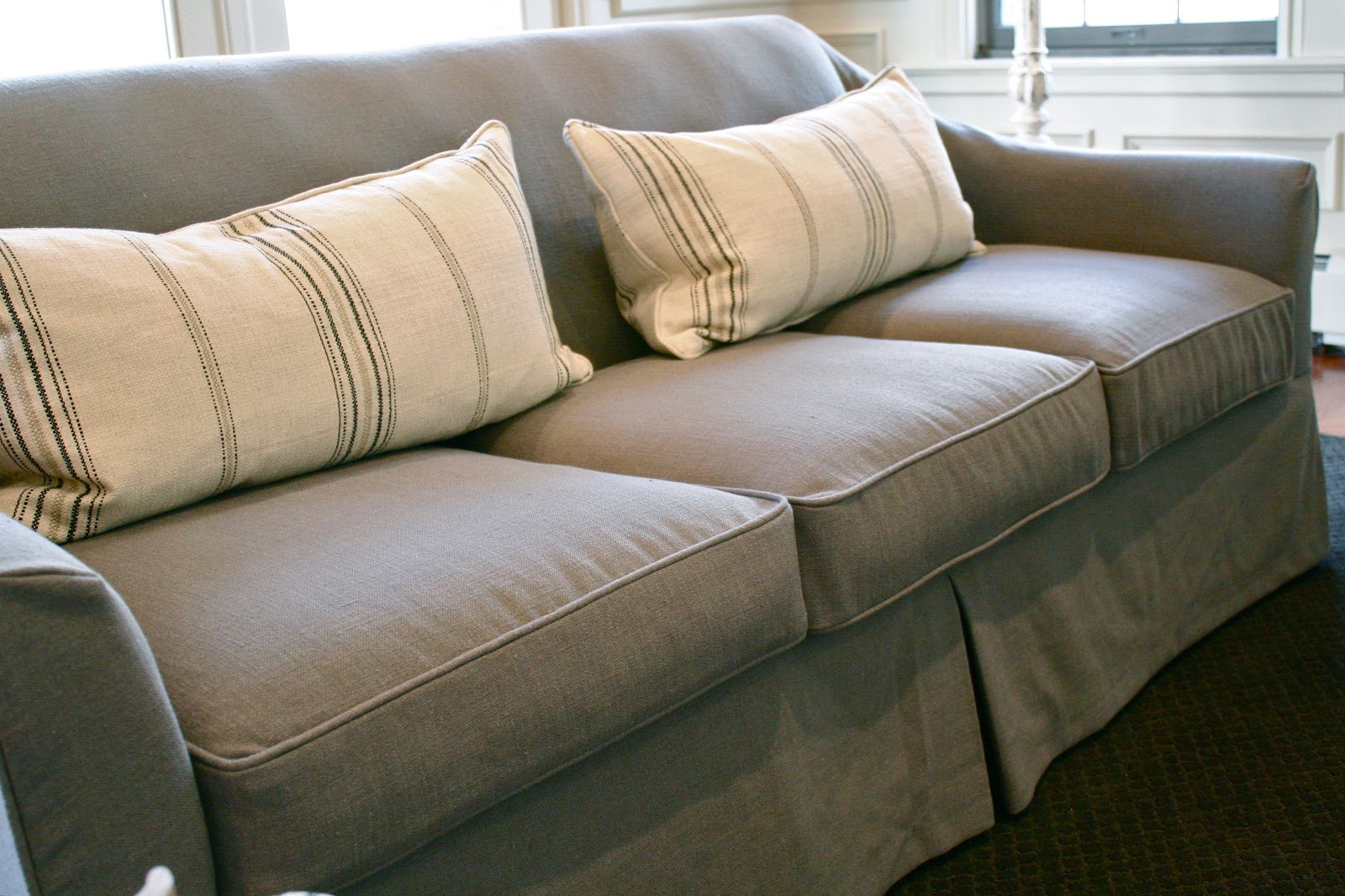 gray linen sofa slipcover sitting designs custom slipcovers by shelley waterfall skirt couch