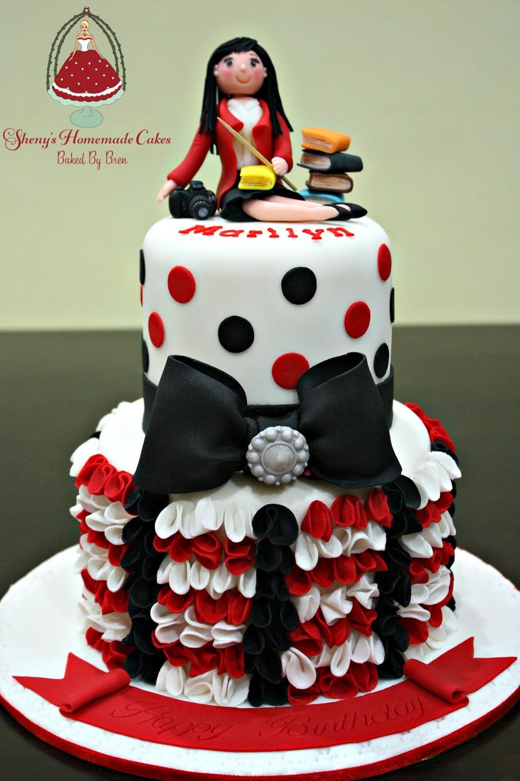 Shenys Homemade Treats Red Black and White Birthday Cake