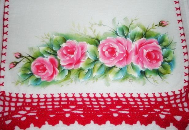 pintura em tecido flores pano de prato crochê