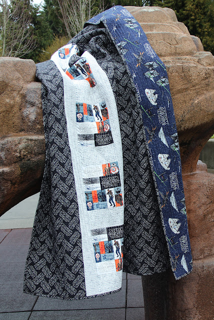 """Star Wars Quilt"" Free Easy to Sew Quilt Pattern designed by Melanie from Fort Worth Fabric Studio"