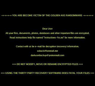 Golden Axe Ransomware wallpaper обои