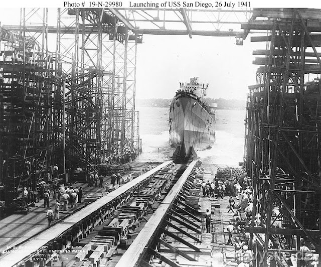 USS San Diego is launched, 26 July 1941 worldwartwo.filminspector.com