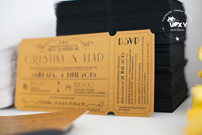 invitatie bilet, invitatie anii '20, invitatie personalizata, invitatie tematica, invitatie aurie, invitatii negru si auriu, invitatii aurii, tema great gatsby, vixy.ro, invitatii deosebite, invitatie nunta, invitatii nunta personalizate