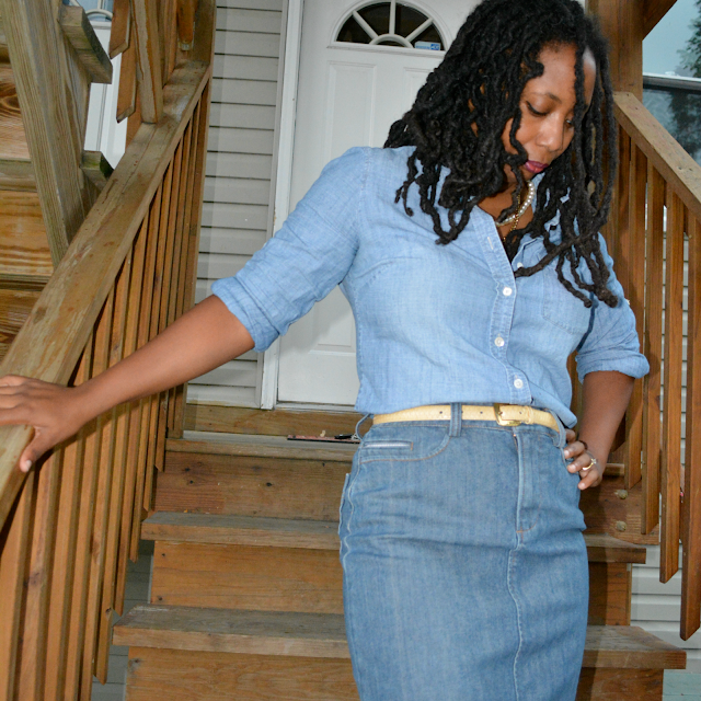 thrift and style a denim shirt