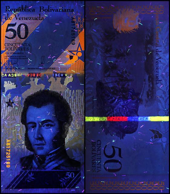 Venezuela Currency 50 Bolivares Soberanos banknote 2018 under ultraviolet light