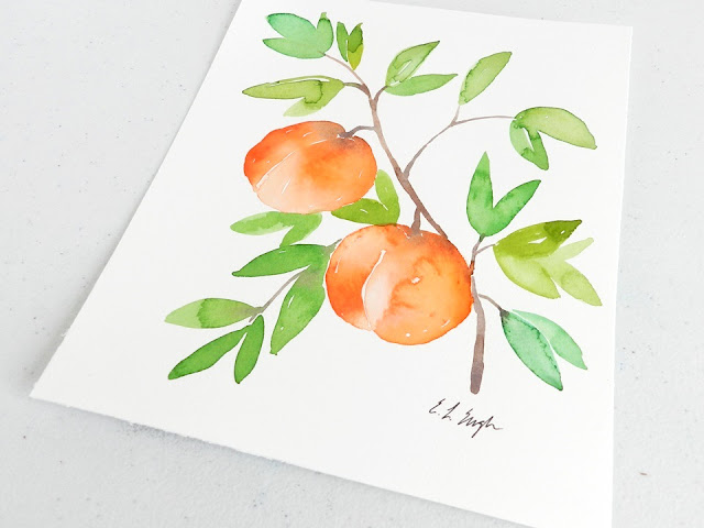 watercolor peaches painting by Elise Engh