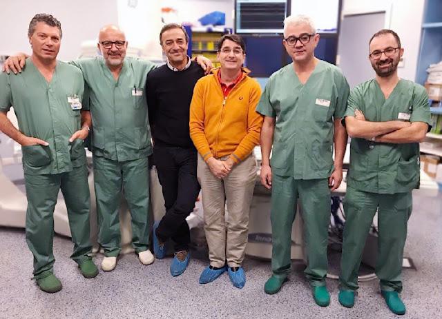 Claudio Panciroli (primo sinistra) Pietro Mazzarotto (secondo sinistra) e il team