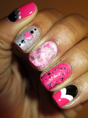 Revlon Bubblegum, Hard Candy Black Tie Optional, skittlete, studs, half-moon, fishtail, sponge, glitter, nail sticker, nails, nail art, nail design, mani
