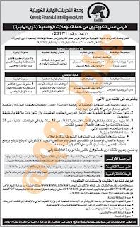 وظائف شاغرة فى وحدة التحريات المالية فى الكويت عام 2017
