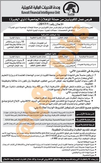 وظائف شاغرة فى وحدة التحريات المالية فى الكويت عام 2020