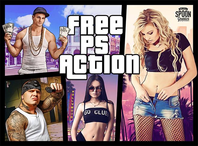 Эффект Grand Theft Auto (GTA 5) в Фотошопе (англ.)