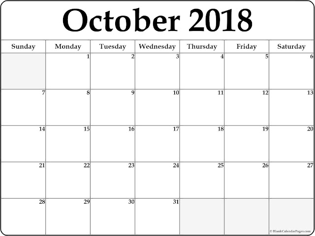 October 2018 Monthly Calendar Printable Templates