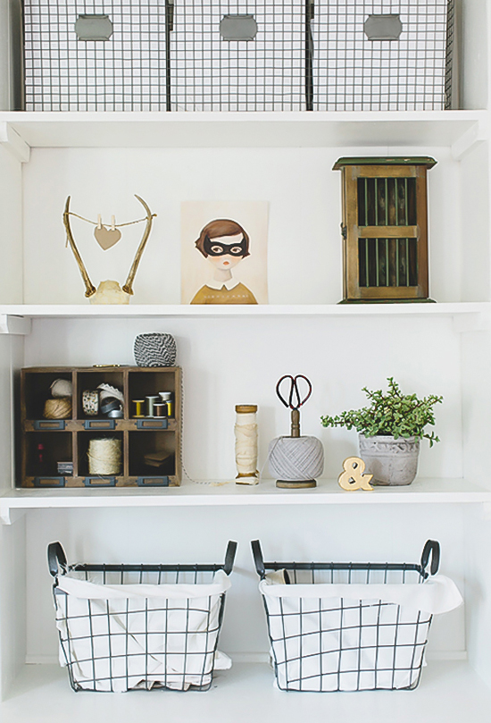 The styling of Kelly Murray's shelving as seen on Design Sponge.