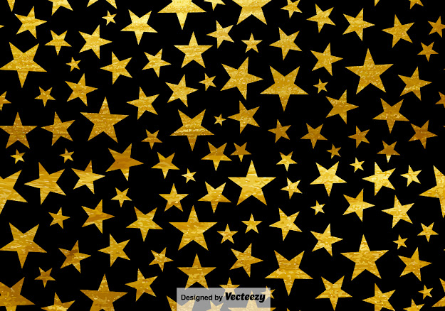 Black Background With Stars Seamless Pattern