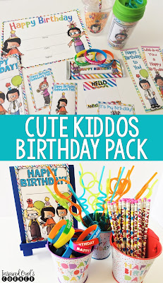 Student birthday pack perfect for your 1st, 2nd, 3rd, or 4th grade students. Included are cup labels, topper labels, certificates, birthday badges, passes, and cards.