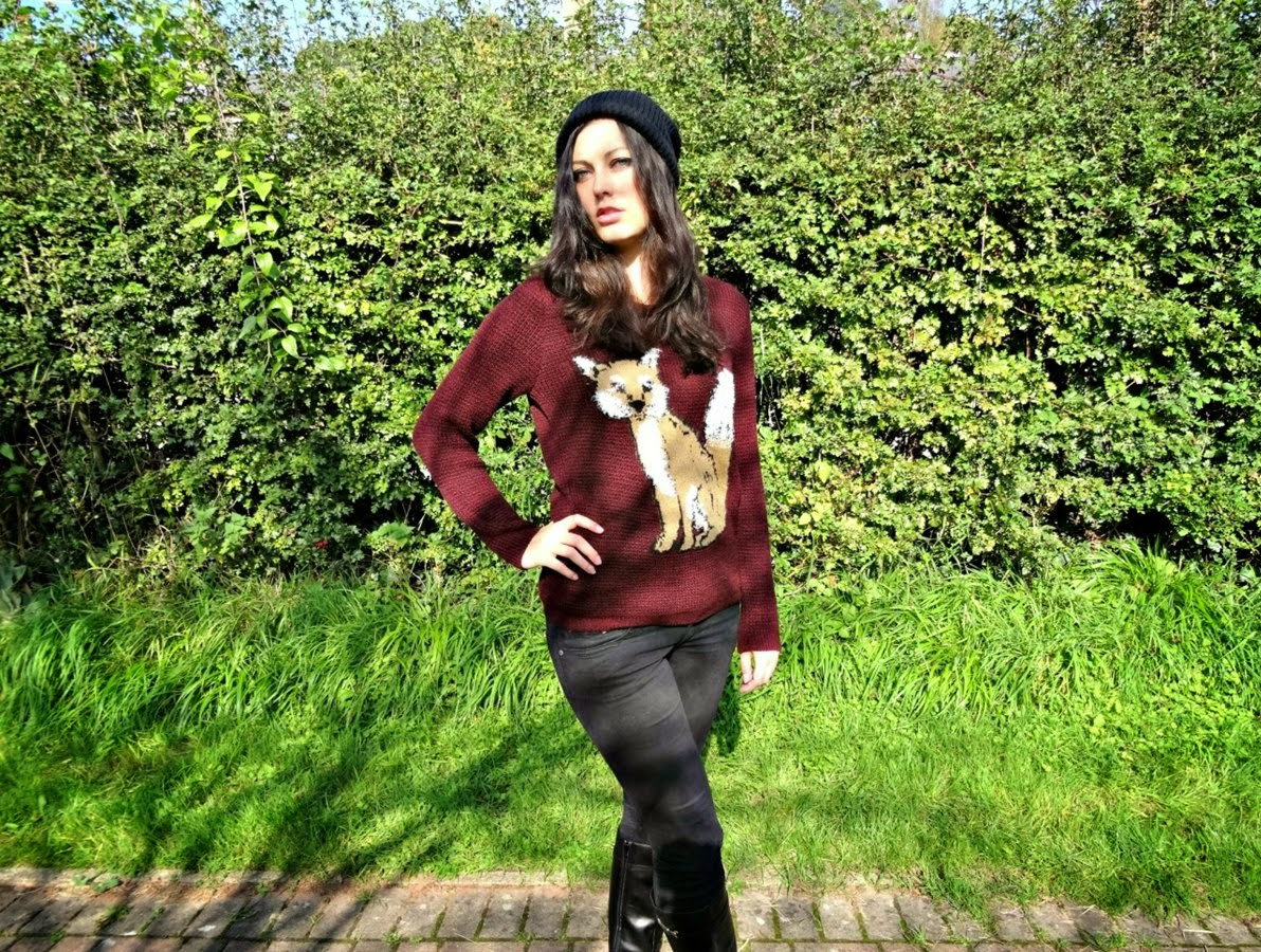 Autumn fashion post including a woolly fox jumper ASDA