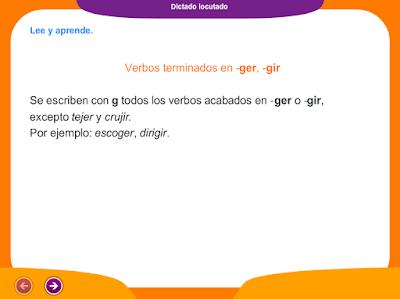 http://www.ceiploreto.es/sugerencias/juegos_educativos_4/14/6_Dictado_verbos_ger_gir/index.html