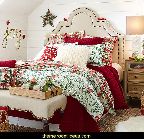 Winter Birds & Plaid Reversible Duvet Cover  Christmas decorating ideas - Christmas decor - Christmas decorations - Christmas kitchen decor - santa belly pillows - Santa Suit Duvet covers - Christmas bedding - Christmas pillows - Christmas  bedroom decor  - winter decorating ideas - winter wonderland decorating - Christmas Stockings Holiday decor Santa Claus - decorating for Christmas - 3d Christmas cards