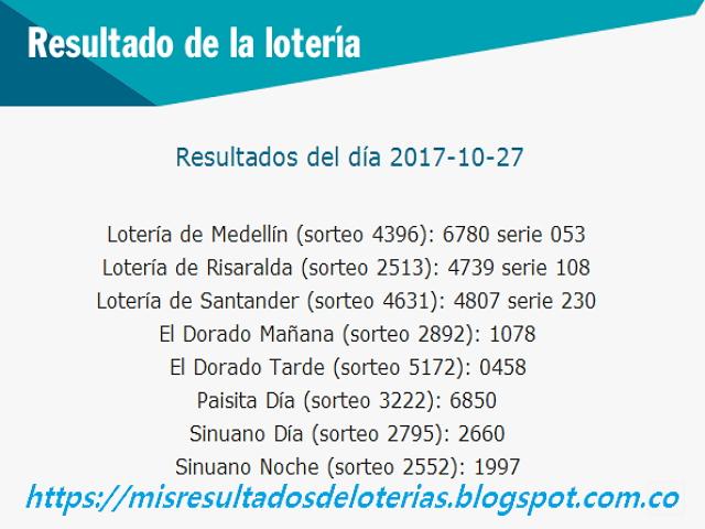 Como jugo la lotería anoche - Resultados diarios de la lotería y el chance - resultados del dia 27-10-2017