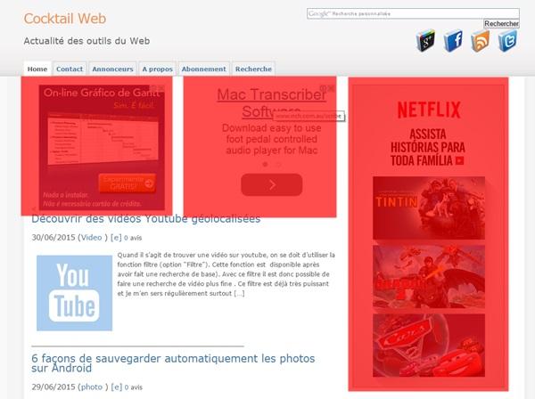 exemple : trop de publicité adsense sur une même page (en rouge, la surface occupée par la pub: